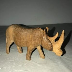 Vintage wood carved rhino 3 x 5.3""